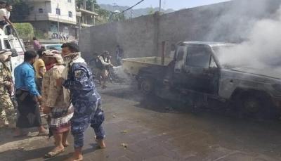 تعز: إصابة سبعة مدنيين إثر انفجار عبوة ناسفة إستهدف طقم عسكرب غرب المدينة
